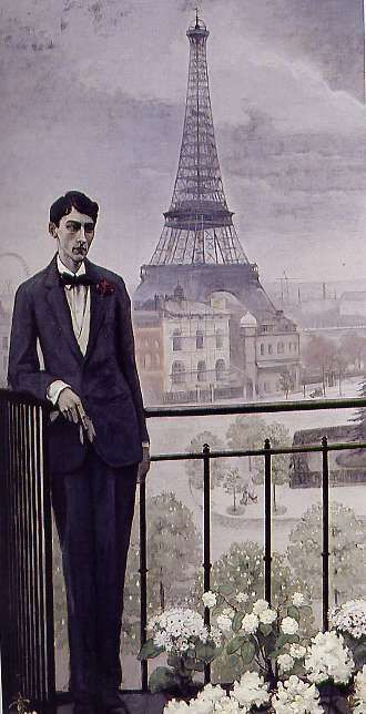 Portrait of Jean Cocteau, 1912, Romaine Brooks.  Jean Cocteau was a French poet, novelist, dramatist, designer, playwright, artist and filmmaker.