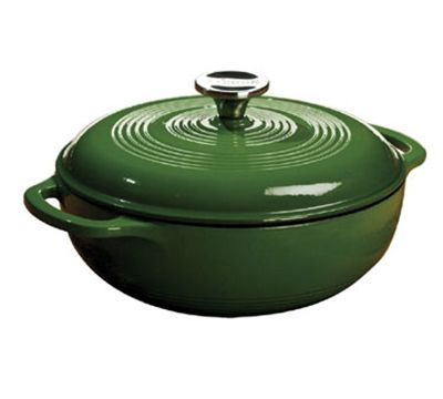 Cast iron color enamel Dutch ovens from Lodge are not only stylish but incredibly durable and worth your investment. Your 3 qt color enamel Dutch oven will last you for years and years and stand up to even the harshest cooking environment. Lodge cast iron color enamel Dutch ovens are absolutely the most versatile piece of cookware available. Seriously. http://www.katom.com/261-EC3D53.html