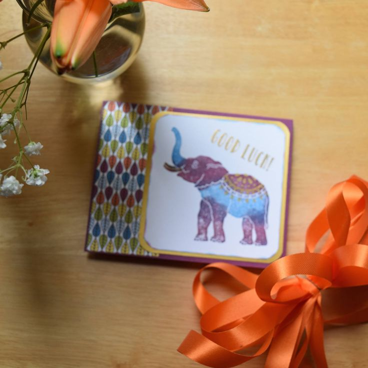 Good Luck! Hand Stamped Card, Elephants Bring Good Luck, Gold Embossed, Trunks Up!, Happy Elephant, Lucky, Blue, Purple, Rainbow Colored by SpringDayShiny on Etsy