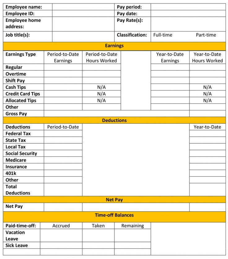 Get Our Example of Subcontractor Pay Stub Template in 2020