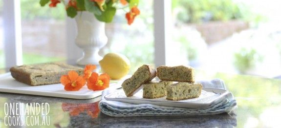 These Lemon and Poppyseed fingers are the perfect snack for a toddler on the go or healthy family slice #onehandedcooks