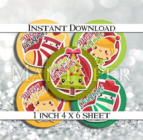 INSTANT DOWNLOAD Kawaii Elf Elves Christmas 4x6 Digital
