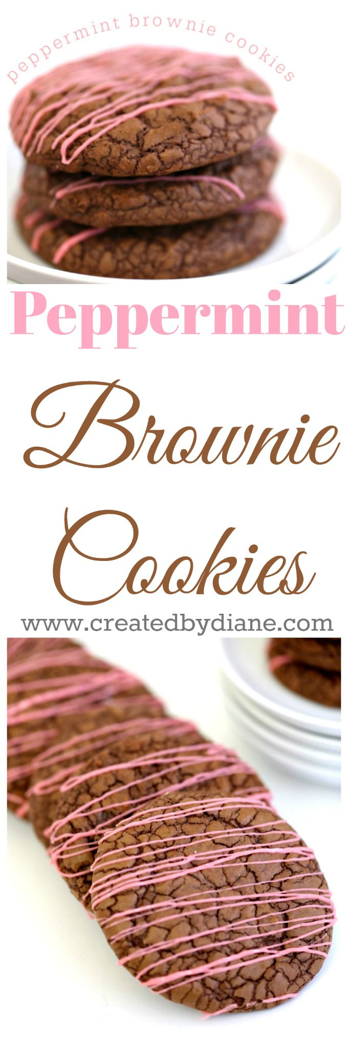 chocolate brownie cookies with pink peppermint icing