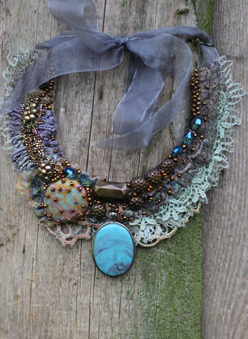 Seamist-- bohemian, shabby chic bold statement necklace from antique and vintage textiles, hand beaded by FleursBoheme
