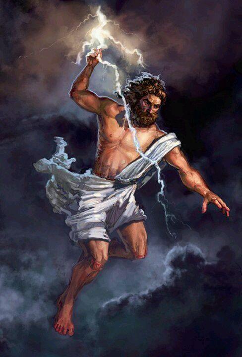 Greek God Zeus Of Sky And Thunder Son Cronus Rhea Roman Name Jupiter