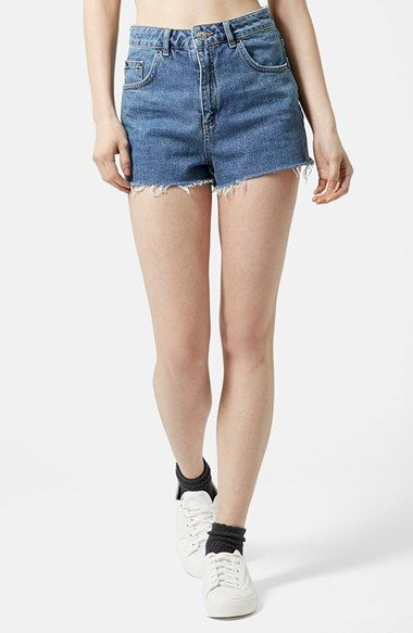 Topshop 'Mom Jean' Cutoff Shorts (Mid Stone) available at #Nordstrom