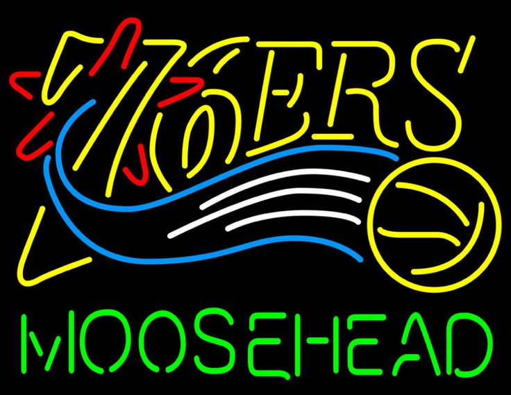 Moosehead Philadelphia 76ers NBA Neon Beer Sign, Moosehead with NBA Neon Signs | Beer with Sports Signs. Makes a great gift. High impact, eye catching, real glass tube neon sign. In stock. Ships in 5 days or less. Brand New Indoor Neon Sign. Neon Tube thickness is 9MM. All Neon Signs have 1 year warranty and 0% breakage guarantee.