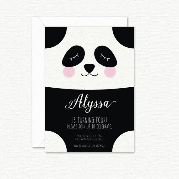 Panda cumpleaños partido invitación, invitación de fiesta de cumpleaños de los niños, invitación de fiesta de cumpleaños de los niños, invitación para imprimir