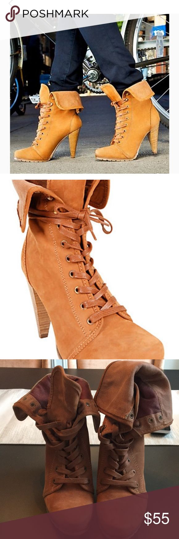 Steve Madden Timburr Boot The Timmburr boots – foldover top, exposed tongue, lace-up detail… this boot has it all!  A perfect mix of both tough & feminine.  I've always found foldover boots super chic & sexy.  Sure to give you a nice lift to any dull outfit. Worn once. Upper leather is clean with no nixs or scratches Steve Madden Shoes Lace Up Boots