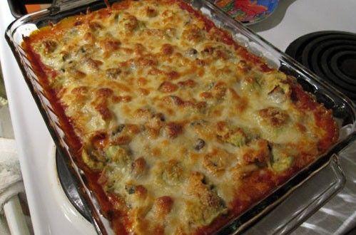 Σουφλέ τορτελίνια με μοτσαρέλα και σάλτσα