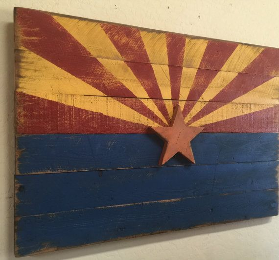 Barn Wood Style Arizona Flag, Rustice Arizona Flag, Americana Flag, Arizona Flag, Americana Decor, Primitive Arizona Flag