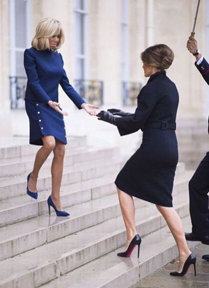 Brigitte graciously greeting First Lady Melania | The ...
