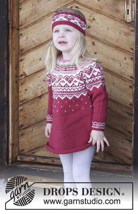 DROPS Children 30-11 - Set consists of: Tunic for kids with round yoke, multi-coloured Norwegian pattern and A-shape, knitted top down. Head band with multi-coloured Norwegian pattern. Size 2 - 12 years Set is knitted in DROPS Merino Extra Fine.