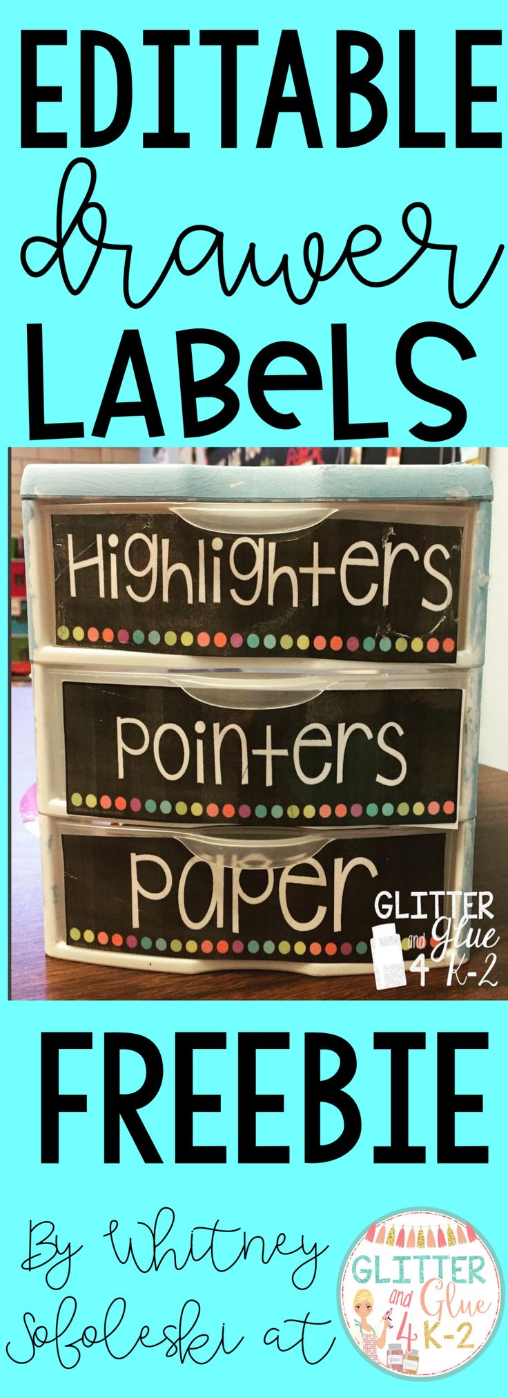 Jazz up and organize your writing center with these fun labels for your drawers! Organize more of your supplies by using the editable labels! Keywords: classroom organization, pencil management, back to school, classroom, teachers, teachers.