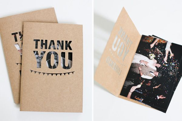 A DIY from Fellow Fellow, the perfect thank you card. #wedding    Cute thank you card idea? :)