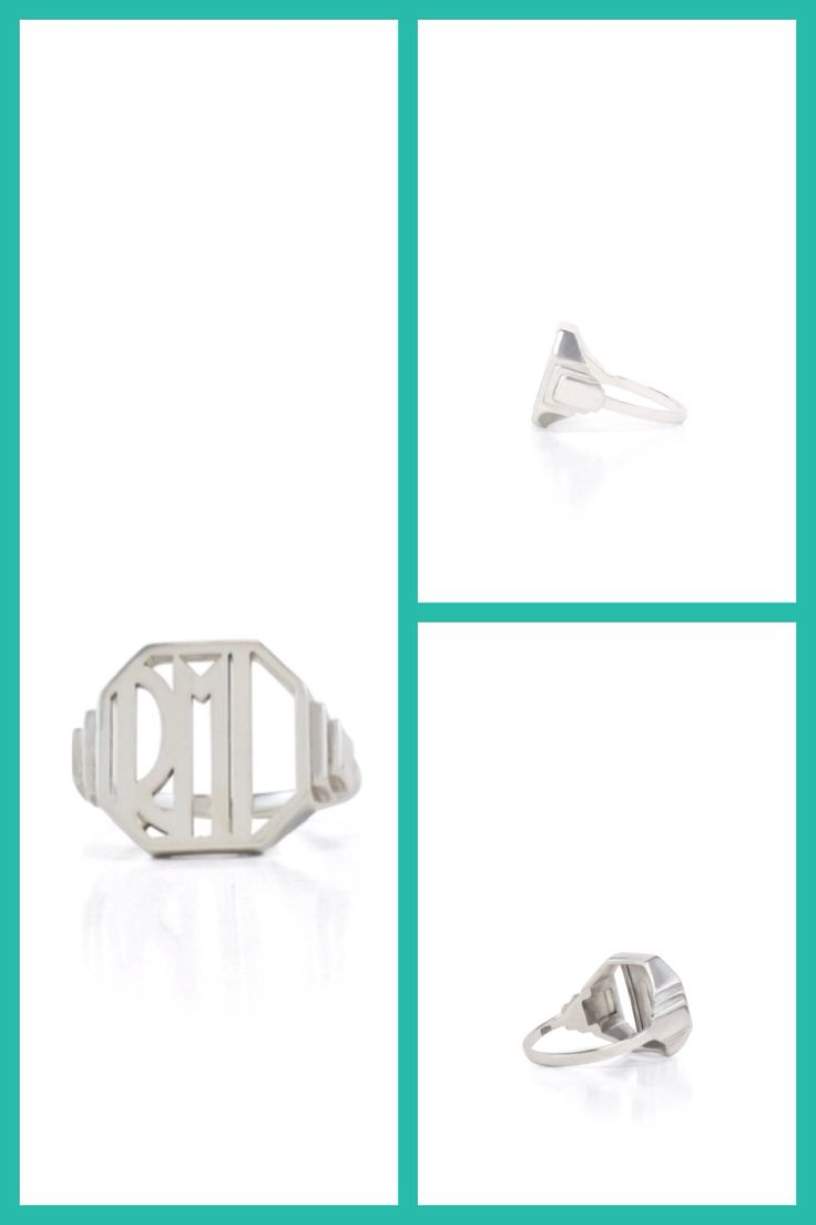 Custom Art Deco signet ring in sterling silver. carey pearson designs
