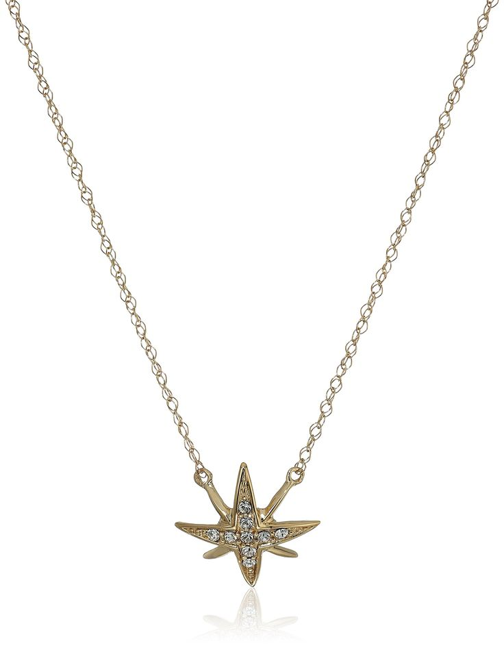 "10k Yellow Gold Swarovski Crystal North Star Necklace, 17"". Hand-polished pure 10k yellow gold; Italian gold chain."