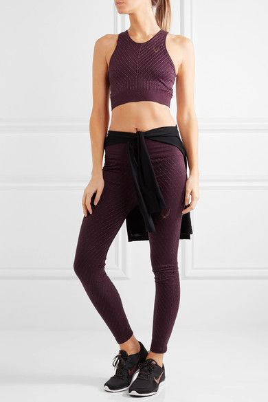 Lucas Hugh - Stardust Metallic Stretch-jersey Sports Bra - Plum - medium