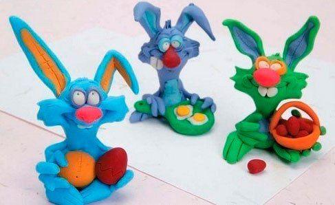 детские поделки из пластилина кролики