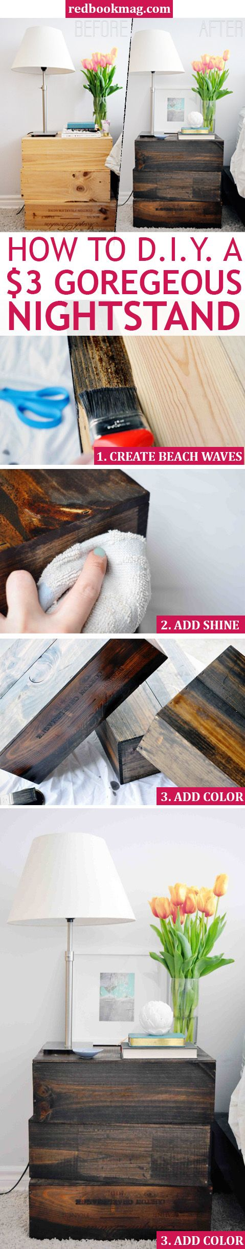 CHEAP DIY NIGHTSTAND: We all love chic and unique furniture pieces, but one-of-a-kind decor is even better when you can make it yourself for almost nothing! With this easy tutorial from interior designer, Jacquelyn Clark, you can make this vintage-y looking nightstand from wine boxes and wood stain. Click through for the all the directions, pro tips, and the easy tutorial!