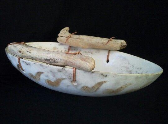 DIANE KOTZAMANIS...Drift wood adorned, Greek Cycladic islands inspired, smoke fired bowl......Diane Kotzamanis..... https://m.facebook.com/pages/DK-Ceramics/476698149067003