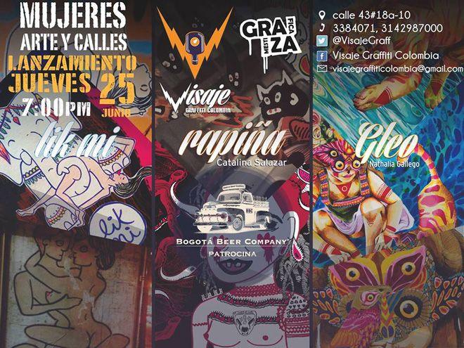 """Lanzamiento de la expo """"Mujeres, arte y Calles"""" próximo jueves 25 de junio en Visaje Graffiti."""