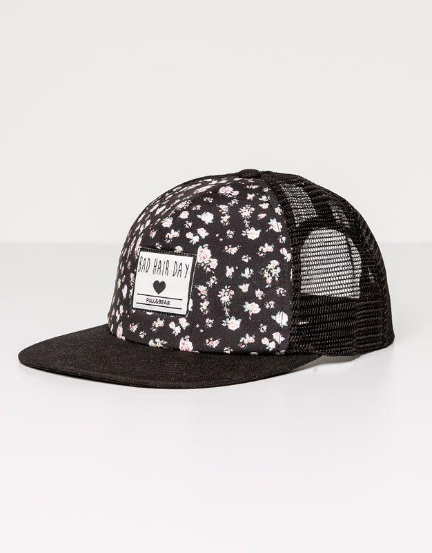 Pull&Bear - femme - bonnets et chapeaux - casquette patch et filet arrière - noir - 05831308-V2016