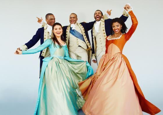 Top, from left: Leslie Odom Jr. (Aaron Burr), Christopher Jackson (George Washington), Daveed Diggs (Marquis de Lafayette/Thomas Jefferson). Bottom, from Left: Phillipa Soo (Eliza Hamilton), Renée Elise Goldsberry (Angelica Schuyler).