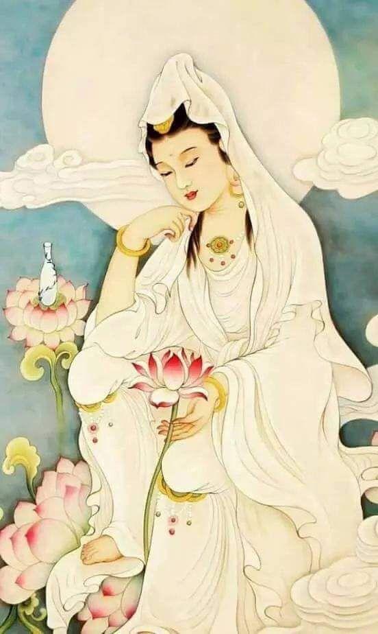 Kwan Yin Lotus flower contemplating