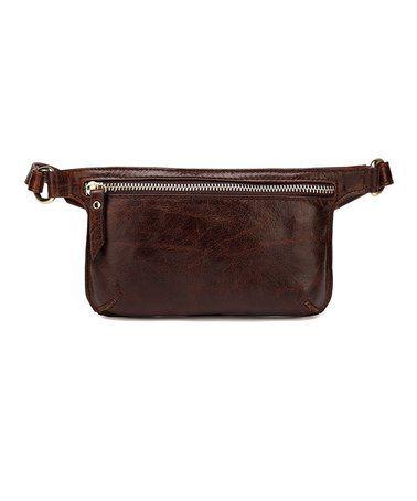 Dark Brown Distressed Mibel Leather Waist Pack