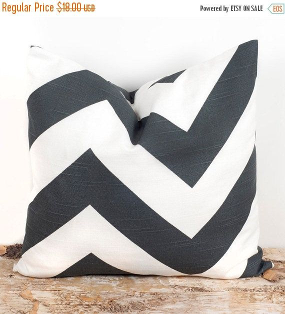 SALE ENDS SOON Dark Gray Chevron Print Pillow Cover by LilyPillow