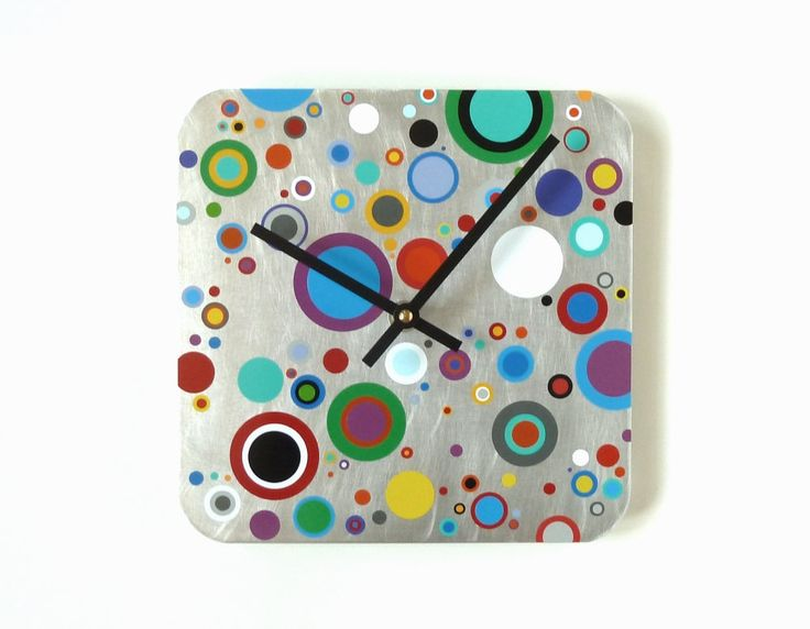 Super Colorful Dots Clock   Recycled Materials Clock   Modern Gift    Rainbow Dots   Layered
