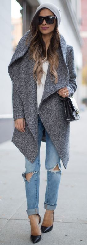 Mia Mia Mine Gray Waterfall Coat Fall Street Style Inspo #miamiamine #mia