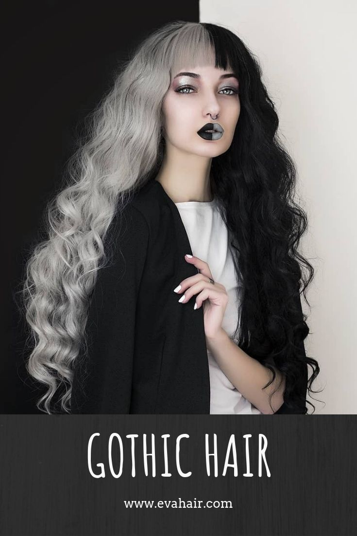 Half Black And Half Grey Water Wavy Gothicstyle Hair Love This One Evahair Evahairofficial Gothic Gothi Two Color Hair Split Dyed Hair Half And Half Hair