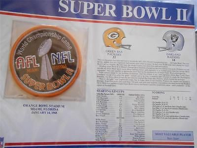 SUPER BOWL 2 1968 PACKERS RAIDERS Willabee Ward OFFICIAL NFL SB II PATCH CARD