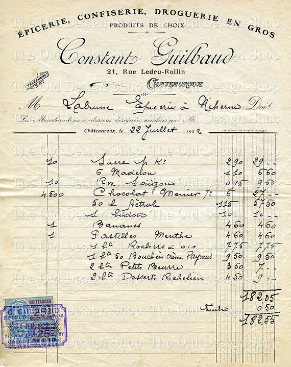 Vintage French Ephemera July 1922 Invoice by TheOldDesignShop, $3.50