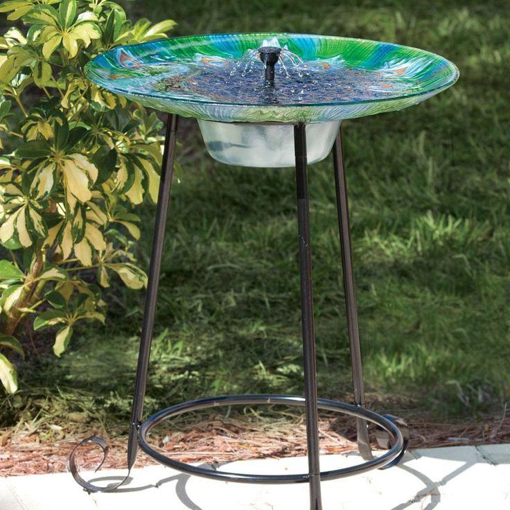 Have to have it. Argus Peacock Glass Solar Bird Bath Fountain - $149.99 @hayneedle