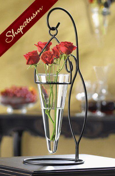 20 Artistic Black Metal Cone Shaped Hanging Glass Vases Bulk Lot