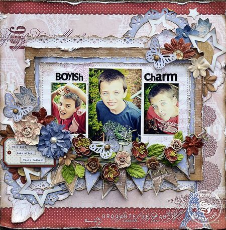 by Janine Koczwara using En Francais: Boyish Charms, Scrapbook Ideas, Scrapbook Layouts, Scrapbook Inspiration, Scrapbook Boys, Janine Koczwara, Scrappy Happy, Prima Layout, Papercraft Inspiration