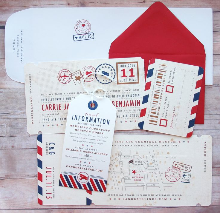 Airplane Boarding Pass Ticket Invitation with par LetterBoxInk