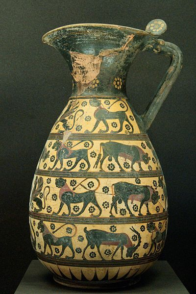 Proto-Corinthian olpe with animals and sphinxes, ca. 640 BC–630 BC. From CorinthProto Corinthians Olp, Ancient Greek, Ceramics Pottery, Greek Pottery, Ancientgreek, Animal Design, Ancient Artifacts2, Ancient Greece, Elementary Art