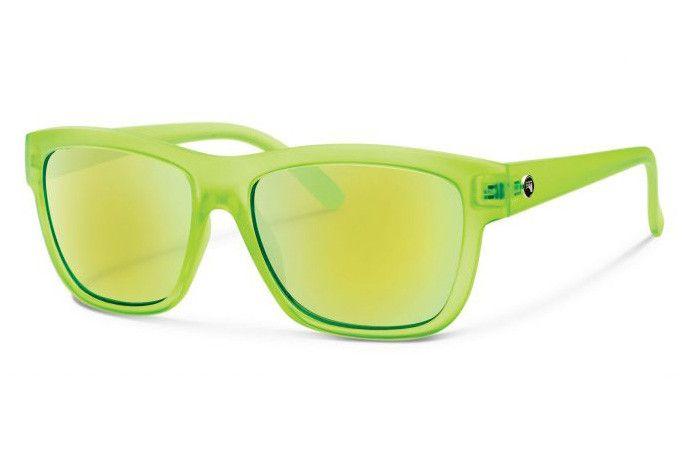 Forecast - CID Matte Lime Sunglasses, Green Mirror Lenses