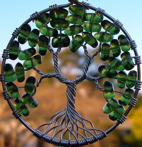 Tree of Life Pendant - Green Glass
