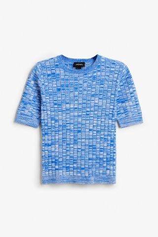 Monki Image 2 of Stretch knitted tee in Blue