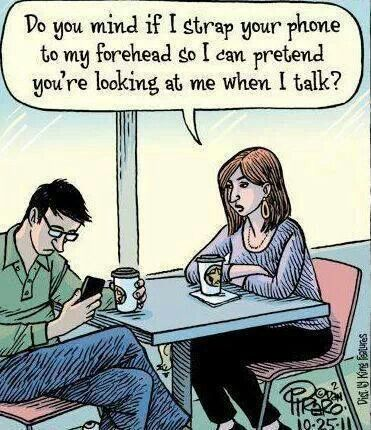 Hate cell phones.... No one talks anymore.