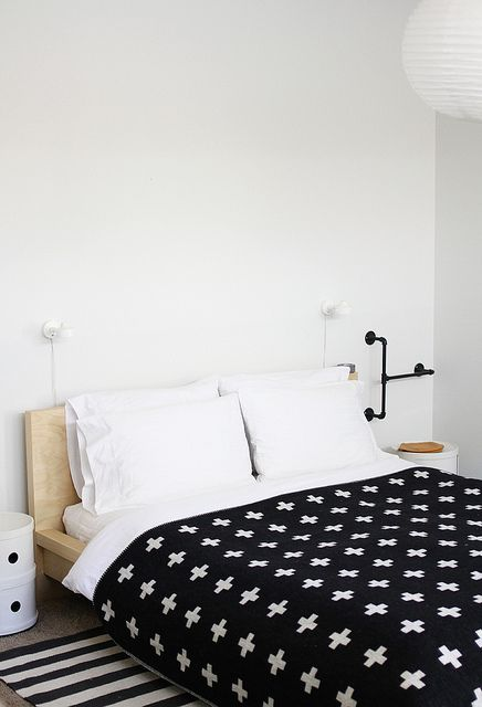 my bedroom by AMM blogBedrooms Lights, Bedrooms Pia, Black And White, Interiors, Beds Spreads, Black White, White Bedrooms, Pia Wallen Crosses Blankets, Bedrooms Decor