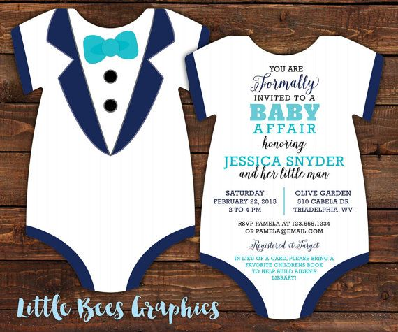10 Tuxedo Baby Shower Invitations Black Tie by LittleBeesGraphics