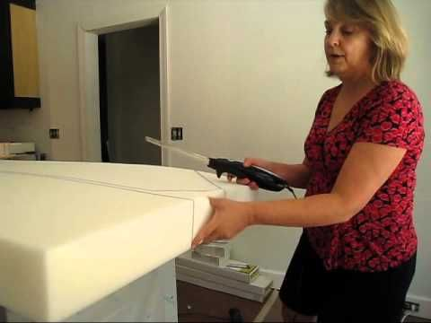 Demonstration of how to cut upholstery foam with an electric knife.