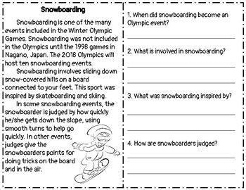 Winter Olympics 2018 Reading Comprehension Passage & Questions: Snowboarding