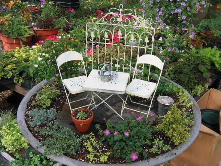 mini garden ideas white chair